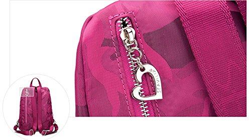Anti - Diebstahl leichte Schultertasche weibliche koreanische Version der Reise zum Nylon Mama Rucksack Leinwand wild ( Farbe : Schwarz ) Dunkelviolett