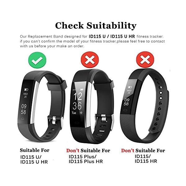 Rayfit Pulseras de Repuesto para Fitness Tracker Correa ID115U / Correa 115U / 115UU Smart Band Correa Repuesto de Reloj… 2