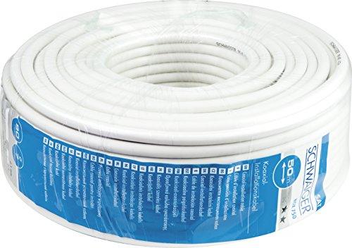 Schwaiger Sat Koaxialkabel unkonfektioniert (7 mm, 90 dB, 50m) weiß