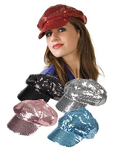 Faschingsfete Damen Karnevalsaccessoire- Kappe mit Pailletten, Rot