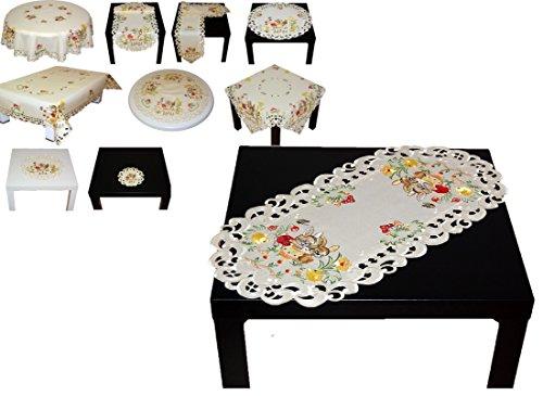 niedliche TISCHDECKE circa 35x70 cm oval OSTERN creme OSTERHASE mit Küken bunt gestickt Polyester Osterdecke Ostertischdecke (Tischläufer 35x70 cm)