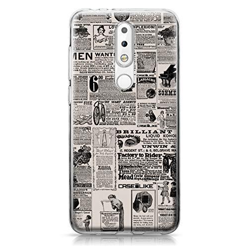 CASEiLIKE® Custodia Nokia 5.1 Plus Cover, Giornale dell'Annata pubblicità 4818 Disegno Ultra Sottile Paraurti TPU Caso Silicone per Nokia 5.1 Plus