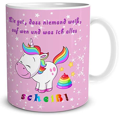 TRIOSK Tasse Einhorn mit Spruch lustig Scheiss Drauf Geschenk für Einhornfans Frauen Freundin Mädchen Kinder Unicorn Regenbogen Rosa Bunt