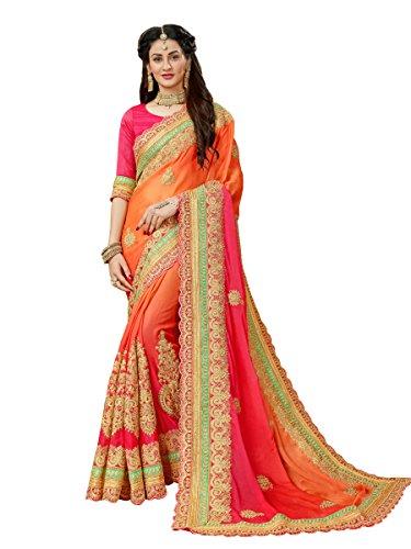 Manohari Embroidery Multicoloured Chiffon Saree