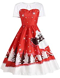 VJGOAL Moda Casual para Mujer Vintage Christmas elk Trineo O-Cuello Impreso Manga Corta Paraguas Dobladillo A-Line Swing Rodilla-Longitud Slim fit Falda