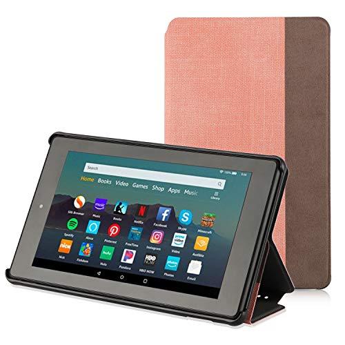 Apiker Hülle für Amazon Fire 7 Tablet (nur für die 9. Generation 2019), Schutzhülle aus Premium-PU-Leder, mit Auto Sleep Wake-Funktion für Fire 7 2019, Pink