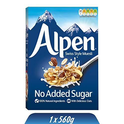 Alpen No Added Sugar Müsli (1 x 560 g) - gesundes Frühstück im Schweizer Stil - Leckere Cerealien mit vielen Ballaststoffen und ohne Zuckerzusatz