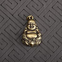 VAWAA Pure Copper Maitreya Buddha Statue Keychains Pendant Retro Solid Brass Hanging Ornaments Laughing Buddha Key Rings Pendants