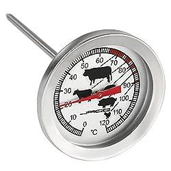 Jago Edelstahl-Fleischthermometer 0°C bis 120 °C Bratenthermometer Gourmetthermometer Küchenhelfer