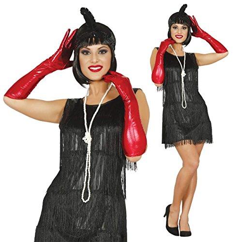 Flapper Kleid Kostüm Lange (20er Jahre Charleston Kleid Kostüm Flapper mit Fransen in schwarz Damenkostüm Motto Party Fasching KarnevalGr. 36 - 42)