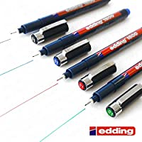 Edding 1800 Profipen Pigment Liner Drawing Pen - 0.1mm - [Set of 4 - Black, Blue, Red, and Green]