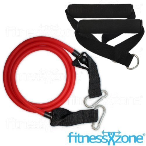 Resistance Band Set With Handles - 3 Piece Resistance Bands Set - Heavy Duty Yoga Pilates Abs - Home Gym Ultimate Fitness Workout Exercise Cords Tubes fitnessXzone? (Red - 15lbs) by fitnessXzone