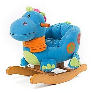 Labebe Wooden Baby Rocking Horse Ride-on Toys - Blue Dinosaur