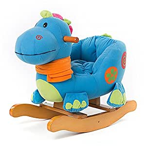 labebe cheval bascule enfant blue dinosaur jeu bascule bois pour petits enfants 6 36 mois. Black Bedroom Furniture Sets. Home Design Ideas