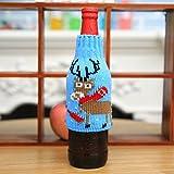 Natale Bottiglie Di Vino Di Maglia Di Natale Set Di Bottiglie Di Birra Di Natale Pupazzo Di Natale Imposta Decorazioni Di Natale (Un Pacchetto Di 2),D,15 * 9cm