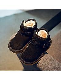 Zapatos para Niños Otoño E Invierno Botas de Nieve de Terciopelo Acolchado para Niños Ocio Velcro Botas de Bebé de Algodón,Negro,27