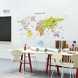 Ambiance-Live – Mapa Gigante de Sticker Autoadhesivo Mural para niños, con Unas Dimensiones de 120 x 150 cm.
