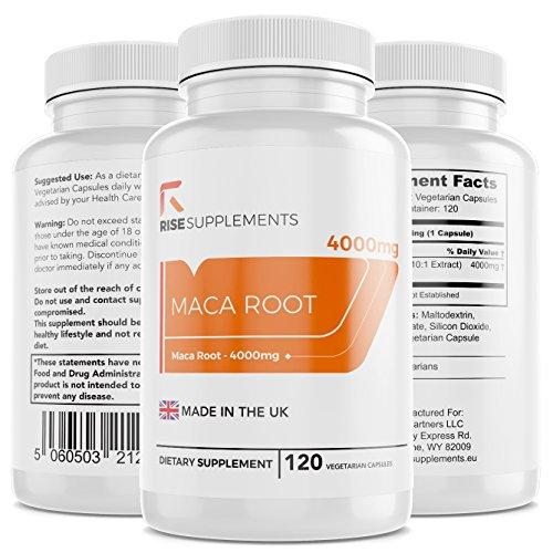 Maca-Wurzel Kapseln 10:1 Extrakt - Äquivalent von 4000 mg pro Kapsel | Energie & Konzentration | Hergestellt in GB in ISO-zertifizierten Betrieben | 120 vegetarische Kapseln | Geld-zurück-Garantie (3 Flaschen)