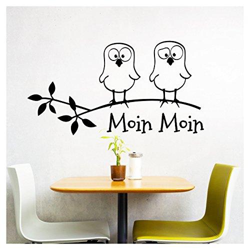 Grandora W5023 Wandtattoo Spruch Moin Moin + lustige Vögel I dunkelgrau (BxH) 39 x 21 cm I Küche Esszimmer Aufkleber Wandsticker Wandaufkleber