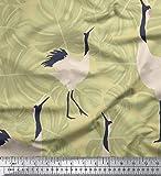 Soimoi Beige Jersey de algodon Tela hojas de monstera y cigüeña pajaro tela estampada de 1 metro 58 Pulgadas de ancho