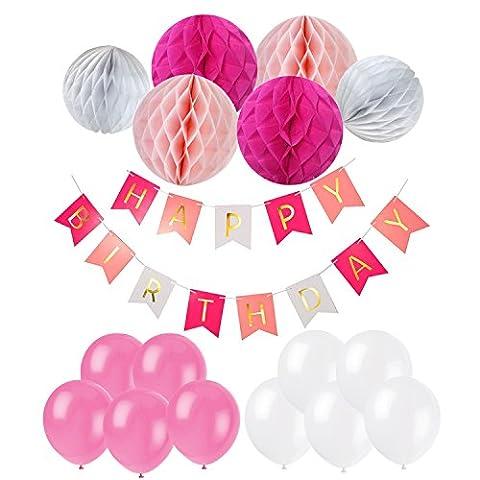 Recosis HAPPY BIRTHDAY Bannière Joyeux Anniversaire Guirlandes avec Ballons à Latex et Papier de Soie Boule Alvéolé pour Fête Anniversaire - Rose