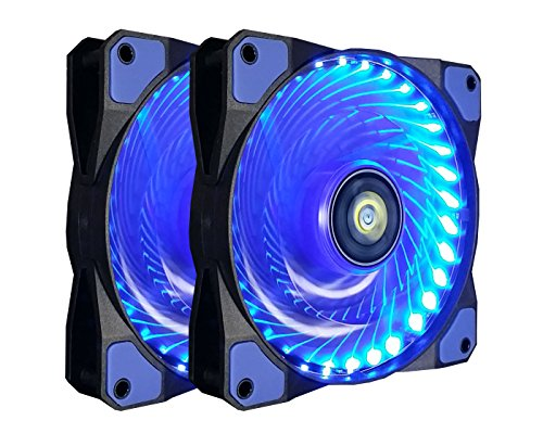 CONISY PC Lüfter, 120 mm LED Ultra Leise Gehäuselüfter für Computer Fällen Kühlerlüfter - Blau (2pack)