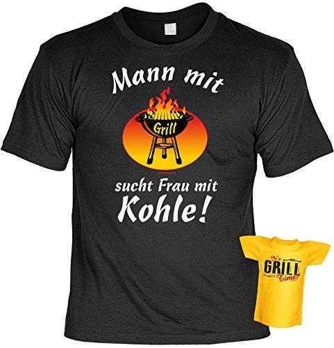 Mann mit Grill sucht Frau.. lustiges Griller T-Shirt mit Mini Shirt It´s Grill Time - Gourmet Fun Geschenk Set für Ihn Schwarz