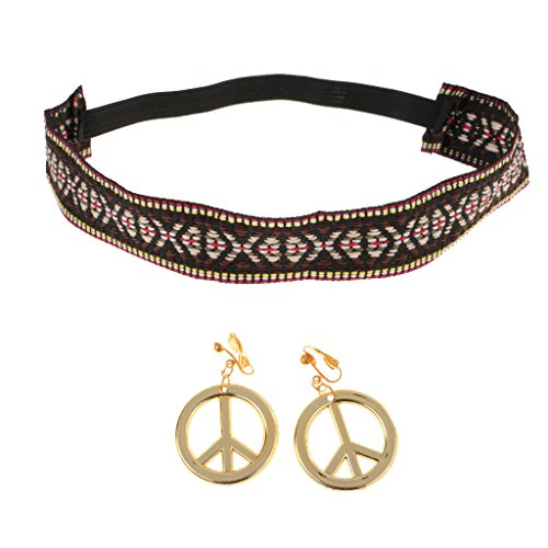 MagiDeal Hippie Stirnband Gold Frieden Zeichen Ohrringe Kit Frauen Mädchen Party Kostüm Requisiten (Kit Kopfband)