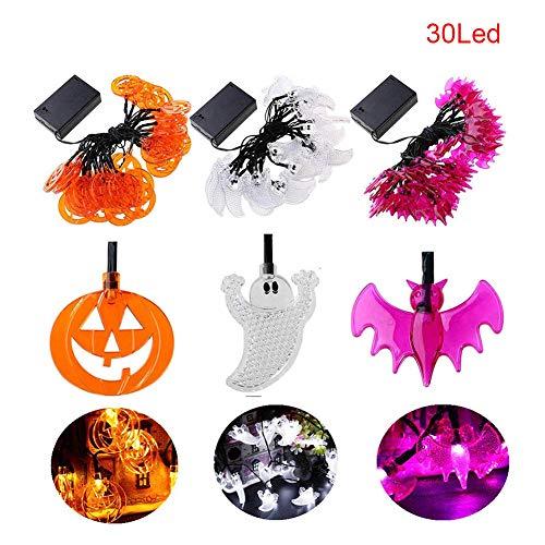 Soulitem Halloween Lichterketten Set mit 20/30 LED Lichter Geister Jack O'Lanterns lila Fledermäuse Party Decor (Halloween Fledermaus Lichter Lila)