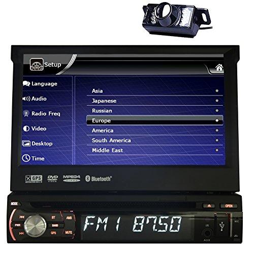1 Din Autoradio / Moniceiver / naviceiver avec European Navigator GPS Dash mains libres Bluetooth 7 pouces à écran tactile HD Panneau avant amovible Lecteur DVD de voiture Support USB / SD SWC Subwoofer + Télécommande + caméra de recul