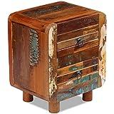 Festnight Retro Nachtschrank Nachttisch aus Recyceltes Massivholz als Beistellschrank Schubladenschrank mit 2 Schubladen 43x33x51 cm