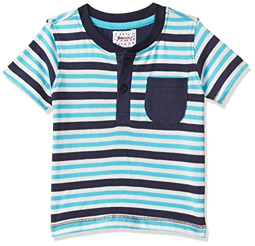 Donuts by Unlimited Baby Boys' Striped Regular Fit T-Shirt (400017525914_Blue_06M)
