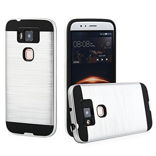 EGO® Hard Case Schutz Hülle für Huawei G8 Grau Metallic Effect Aluminium Brushed Handy Cover Schale Bumper Etui Silber