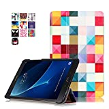 Samsung Tab A6 10.1 Schutzhülle,PU Leder Smart Case Flip Cover für Samsung Galaxy Tab A 10.1 Zoll Wi-Fi/LTE (2016) SM-T580N/SM-T585N Tablet Schutzhülle Etui Tasche mit Support-Funktion,Bunte Würfel