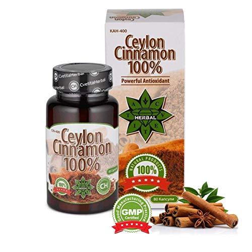 Cvetita herbal, Ceylon Cinnamon Zimt 80 Kapseln,Antioxidationsmittel,Verbessere die Verdauung und den Stoffwechsel,Reduzieren Appetit und Gewichtsverlust