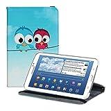 kwmobile FUNDA DE CUERO SINTÉTICO Premium 360º Diseño pájaro comic para el > Samsung Galaxy Tab 3 7.0 Lite < azul rojo azul claro con la práctica función de soporte y Auto Sleep / Wake Up