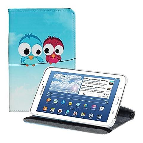 kwmobile Hülle für Samsung Galaxy Tab 3 7.0 Lite T110 / T111 - 360° Standfunktion Case Tablet Schutzhülle Kunstleder - Smart Cover Tabletcase Vögel Comic Design Blau Rot Hellblau