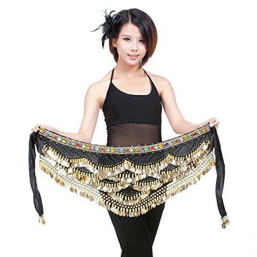 Belly Dance Hip Écharpe Ceinture Jupe avec 328Pièces noir