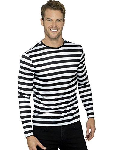 Smiffys, Herren Gestreiftes T-Shirt mit langen Armen, Größe: M, Schwarz und Weiß, 46831 (Kostüme Mit Schwarzen Und Weißen Streifen)
