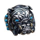 ForFox Anillo de Bulldog Francés Animal Joyería de Plata esterlina 925 Negro con Turquesa para Hombres Ajustable
