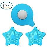 MAIYADUO 3 Pack Badewannenstöpsel und Abflusssieb Dusche, Silikon Haarsieb Abfluss Haarfänger Sieb Stöpsel für Waschbecken Bad Küche Dusche