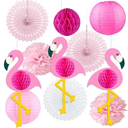 Dekorpapier Kit, 11 Stück Set Seidenpapier Blumen Pompoms Set, Lampions Laternen Fächer Girlande Dekoration, für Hochzeit Party Baby Duschen Geburtstag Bankett Zimmer Pink Rosa ()