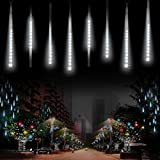 LED Meteor Dusche Solar Lichter Garten,KINGCOO Wasserdicht Mehrfarbig 360LEDs Falling Regentropfen Cascading Dekorative Lichterketten mit 30cm 10 Tubes für Urlaub Party Hochzeit Weihnachtsbaum (Weiß)