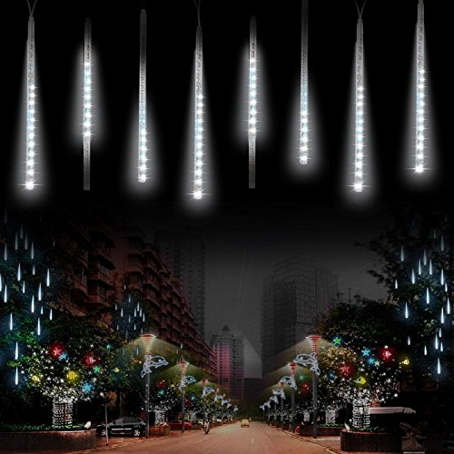 360LEDs Meteor Shower Luci Solari Giardino,KINGCOO Impermeabile Caduta Raindrop Cascading Luci a Corda Decorative con 30cm 10 Tubi Luci Natalizie per Matrimonio Partito Xmas Paesaggio Albero (Bianca)