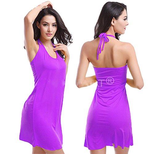 andyshi Frauen Sexy V-Ausschnitt Halfter Bademode Beachwear Kleider Violett
