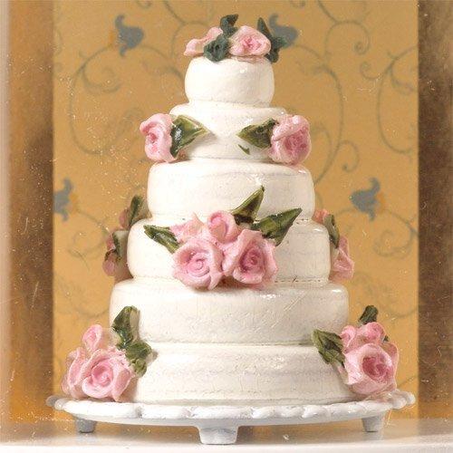 The Dolls House Emporium decorativo torta nuziale con rose rosa
