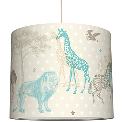 anna wand Lampenschirm AFRICAN ANIMALS – Schirm für Kinder / Baby Lampe mit Tieren der Steppe in versch. Farben – Sanftes Licht für Tisch-,...