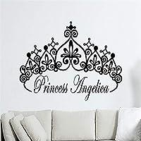 Baobaoshop Customize Personalized Name Crown Princess Girls Name Stickers Vinyl Wall Art Decals Kids Mural 40x57cm
