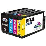Kingway Ersatz für HP 950XL 951XL Druckerpatronen arbeiten mit Officejet Pro 8600 8610 8620 8630 8640 8660 8615 8616 8625 8100 251dw 276dw 4 Stück (1 Schwarz, 1 Cyan, 1 Magenta, 1 Gelb)