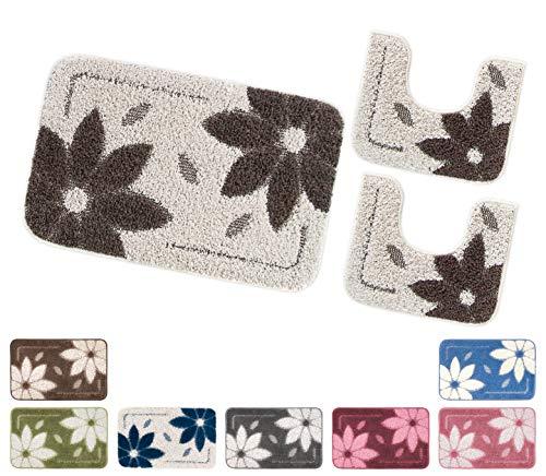 Emmevi tappeto bagno set 3 pezzi fiori morbido girowater parure assorbente shaggy retro antiscivolo mod.asso4 set 3 pezzi grigio